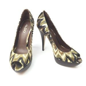 Aldo Animal Print Pleated Satin Platform Pumps